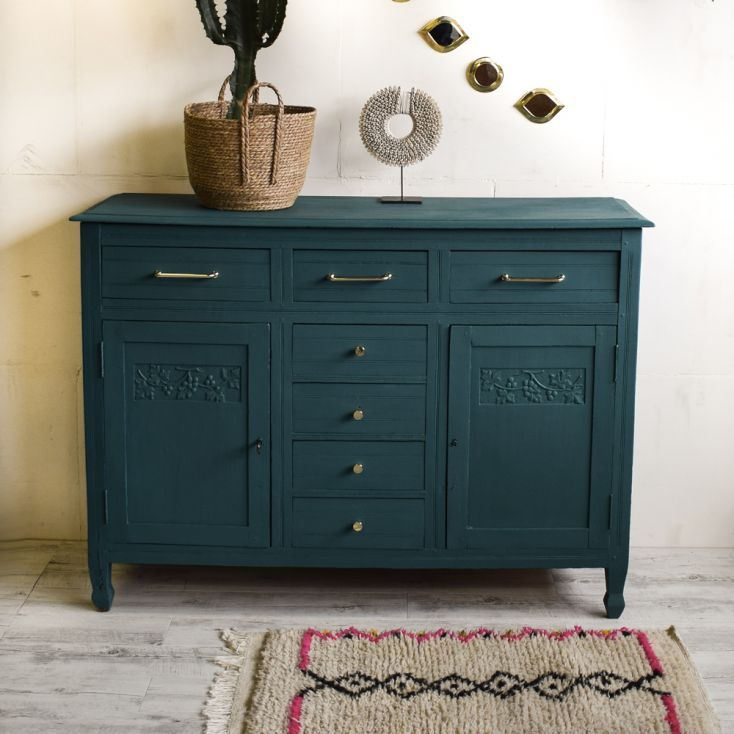Epingle Par Lily Sur Inspiration Ii La Maison Boheme Meubles Peint En Bleu Mobilier De Salon Relooking Meuble