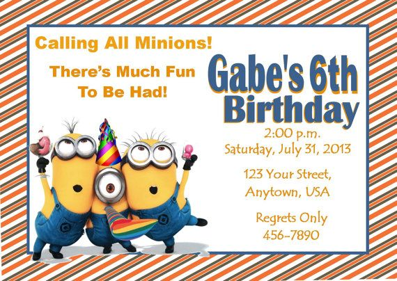 11 best despicable me inspired invitation images on pinterest, Party invitations