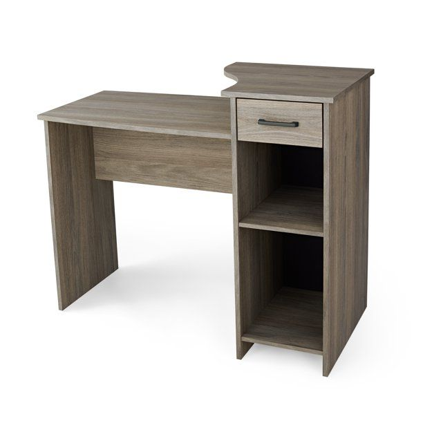 Mainstays Student Desk With Easy Glide Drawer Rustic Oak Finish Walmart Com In 2020 Desk With Drawers Easy Glide Drawers Small Computer Desk