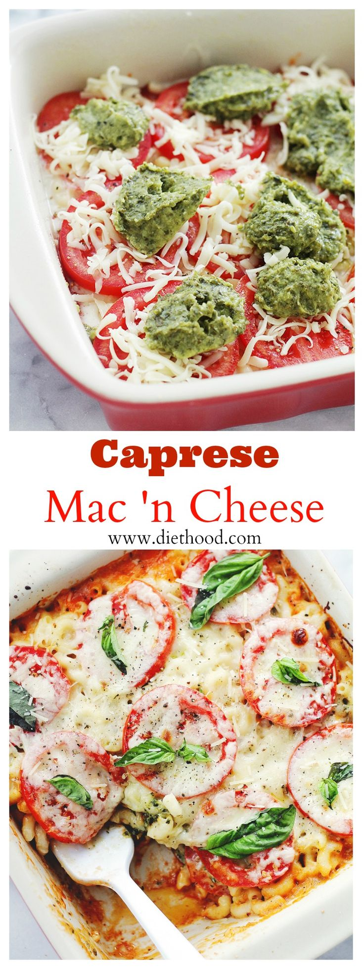 Caprese Macaroni and Cheese | www.diethood.com | Creamy and delicious Macaroni and Cheese made with a mozzarella cheese-sauce, basil pesto, and fresh tomatoes. | #pasta #macaroniandcheese