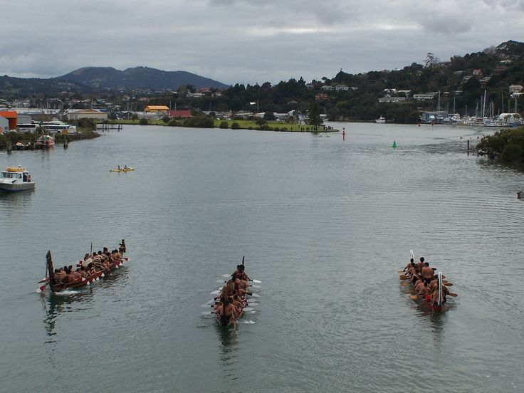 """Waka canoes from Whangarei's new Bridge over Hatea River """"Te Matau a Pohe"""" opening day 27.7.2013 the photo Jackie Stoddard, please credit photographer if you use this image"""