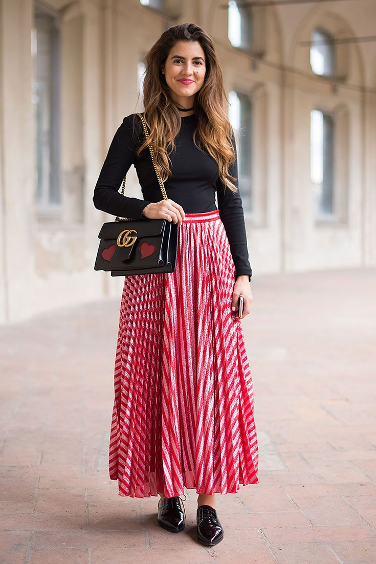 Chic-as street style at Milan Fashion Week from this patent brogue, Gucci bag and candy-stripe skirt combo