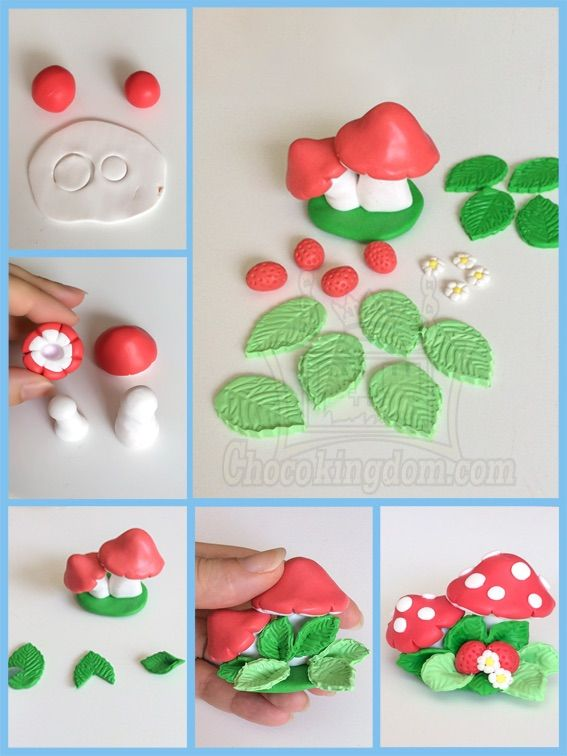 fondant wedding cake toppers tutorial mushrooms and strawberry cake topper tutorial 클레이 14388