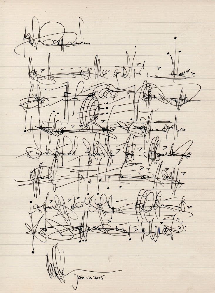 "Cecil Touchon - ""Asemic letter to my cousin Ouida Touchon after her visit to Santa Fe."""