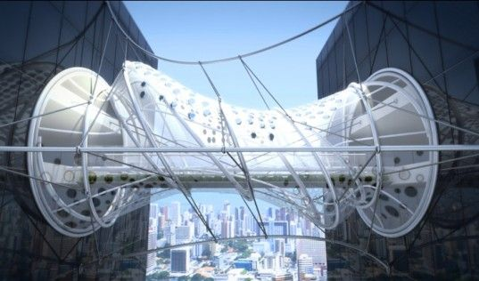 It's no wonder that the judges of the Building to Building Pedestrian Bridge International Challenge awarded this mind-blowing, shape-shifting helix bridge by Sanzpont first place.Featuring a tensile fabric that allows the bridge to move as visitors walk across it, it also captures energy from the sun. If that's not enough goodness for our strictest technophiles, check this out: the bridge also lights up at night with linear LED technology, and purifies the air in its immediate environment.