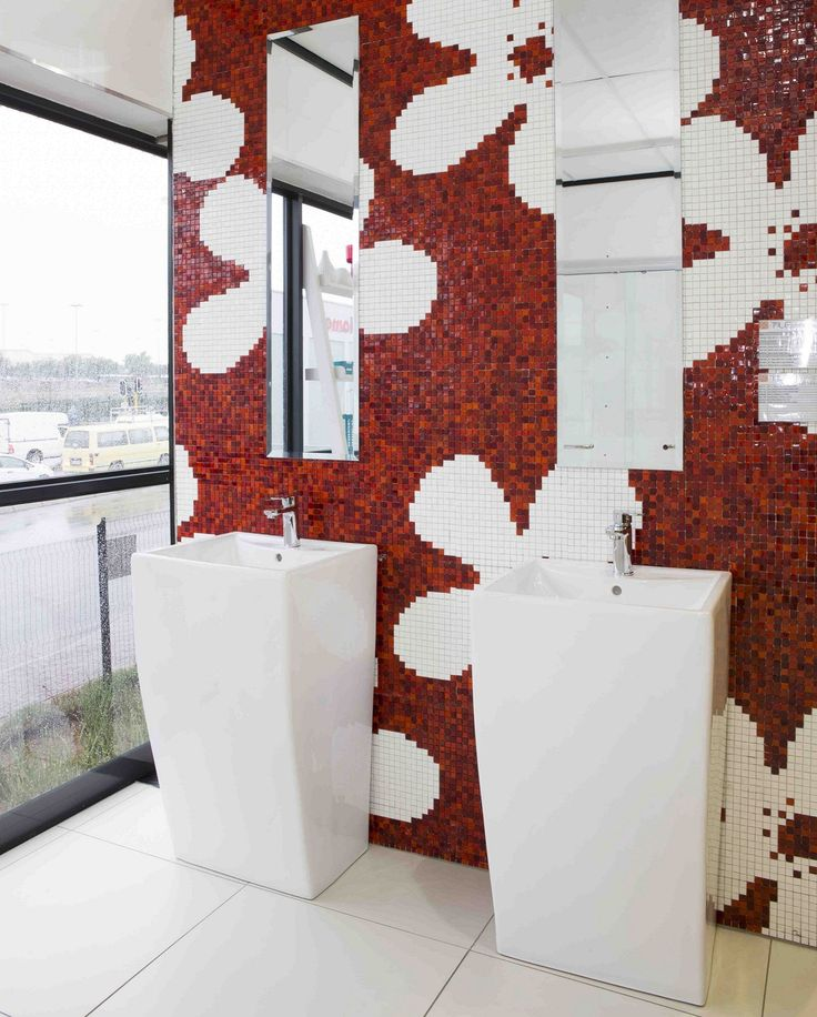 Bring an individual touch to your #bathroom with a #wallpaper design made from red and white #mosaic tiles