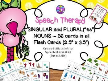 Speech Therapy.  SINGULAR & PLURAL (es) NOUNS.     I created these flash cards for my speech therapy room, to target plural es.This packet includes:A plural es rules card with a list of the noun word endings that require es.   Includes a rules card with a blank lines to be filled-in with noun word endings that require es.28 Singular noun flash cards (2.5 x 3.5)28 plural noun flash cards (2.5 x 3.5) that correspond with the singular nouns.