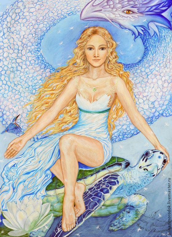 """Купить Фотокартина """"Жива"""". Оберег - богиня, дракон, черепаха, лотос, картина, украшение интерьера, голубой"""