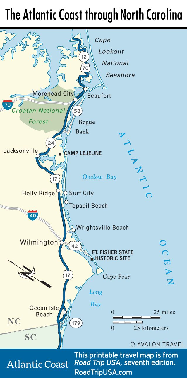 Map Of The Atlantic Coast Through North Carolina