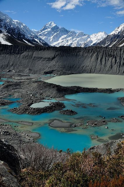 Aoraki / Mount Cook is the highest mountain in New Zealand.  The area is part of one of the UNESCO World Heritage Sites.  Blue pools at the Terminus by mnlrs