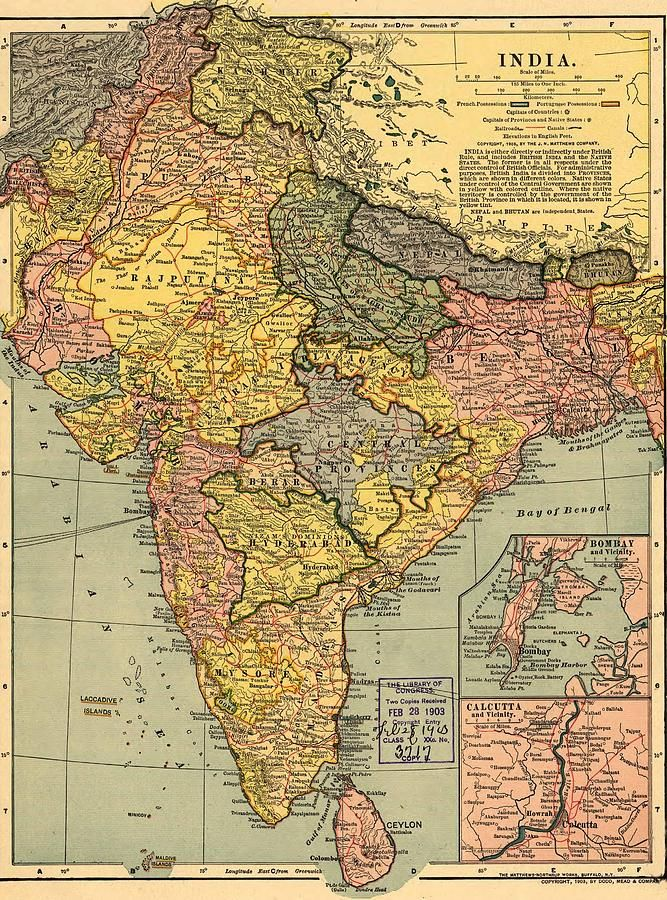 ✮ 1902 map of India, then a colony within the British Empire, showing internal boundaries