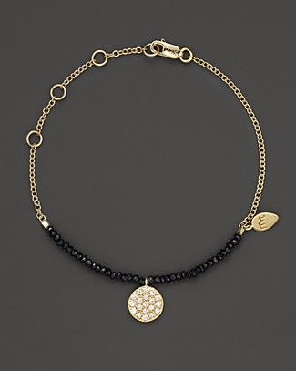Meira T 14K Yellow Gold Diamond and Black Spinel Bracelet   Bloomingdale's