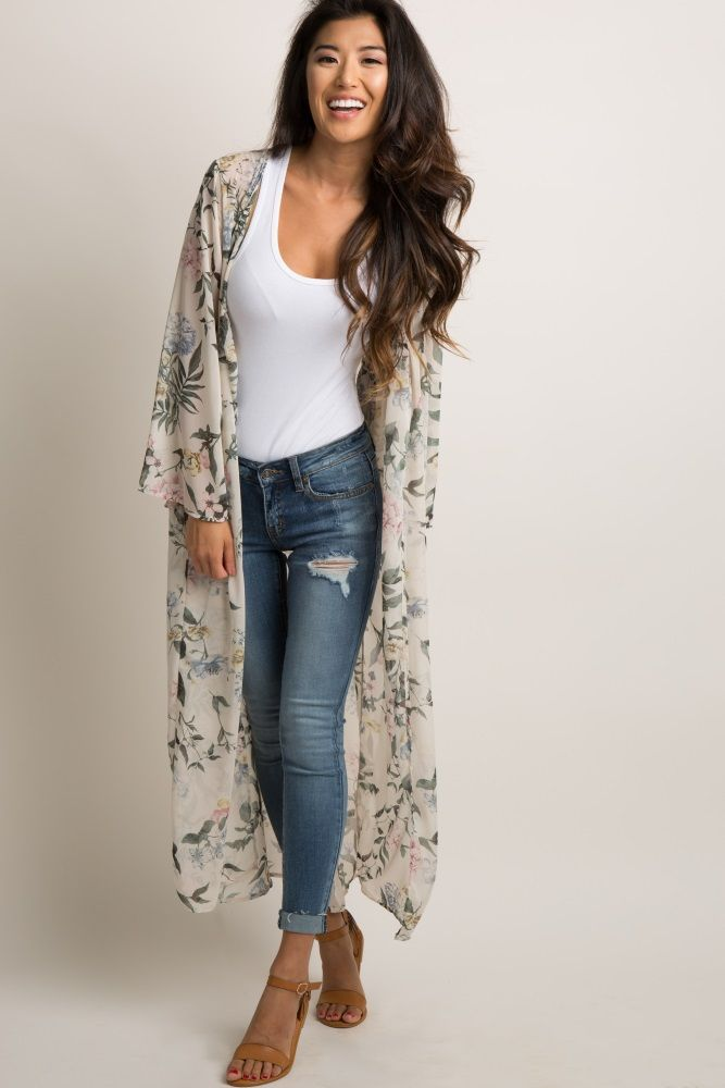 d5c5d32da Floral print chiffon long kimono. Button front detail. cinched at waist.  Long bell sleeves. Semi sheer. This style was created to be worn before,  during, ...
