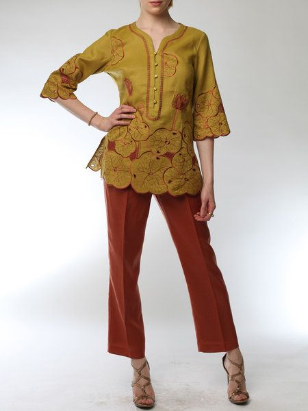 Mustard Embroidered Linen Plus Size Casual Jumpsuit