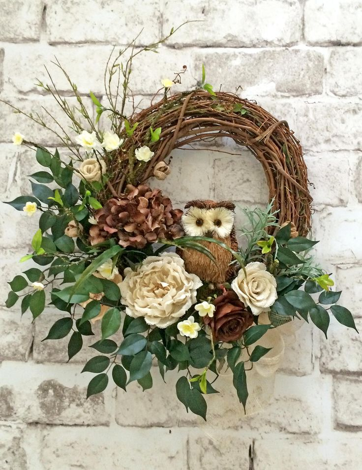 Burlap and Twig Owl Wreath, Ivory and Brown Neutral Wreath, Front Door Wreath, Grapevine Wreath, Silk Floral Wreath, Outdoor Wreath, Door Decor, Door Decoration, Home Decor, Roses, Hydrangeas, Artificial Greenery, by Adorabella Wreaths!