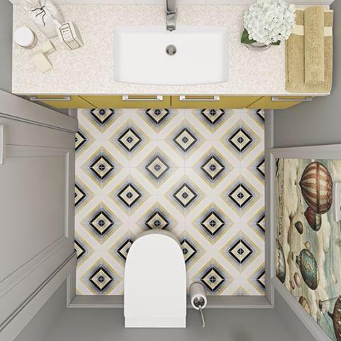 """Серая цветовая палитра с """"сочными"""" жёлтыми акцентами стала основой для гостевого санузла. Немного разбавить однотонность помещения помогла напольная цементная плитка Carodeco из коллекции «Геометрия». Подробнее: http://gretawolf.ru/projects/tsementnaya-plitka-carodeco-v-interere-taunkhausa/  #gretawolf #carodeco #interiors #design #style #home"""