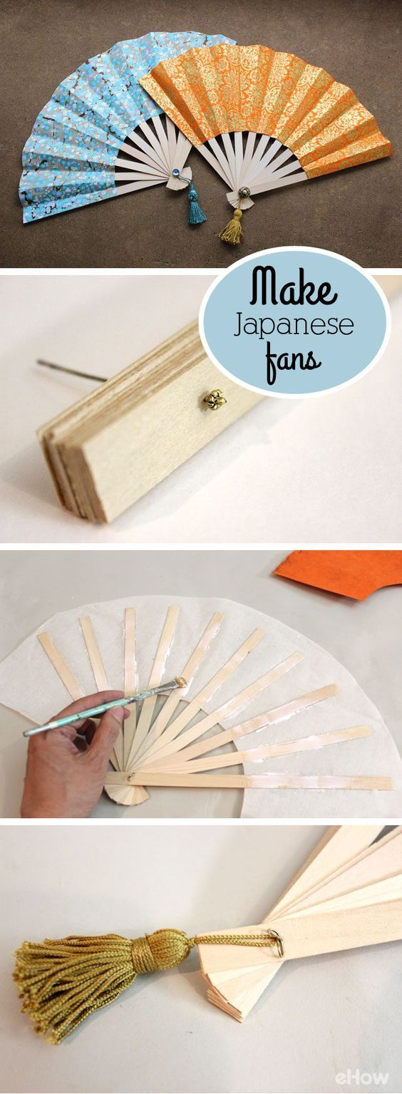 Japanese folding fans, also known as sensu, are as beautiful as they are functional. Fashioned out of decorative paper and wood, you can make your own in just a few simple steps. DIY instructions here: http://www.ehow.com/how_4449525_make-japanese-fans.html?utm_source=pinterest.com&utm_medium=referral&utm_content=inline&utm_campaign=fanpage: