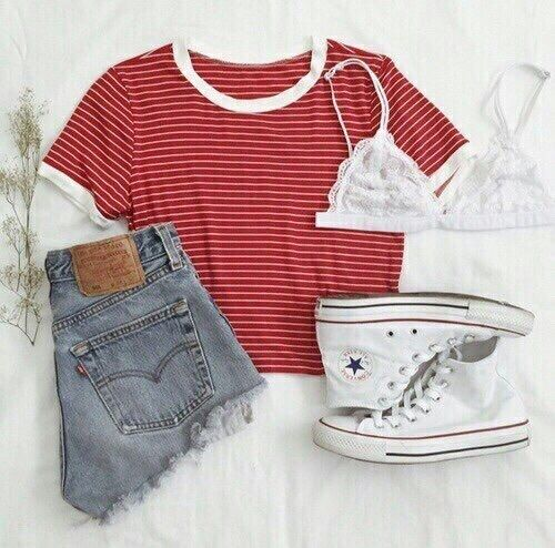 Red Shirt and Denim Shorts with White High-Top Converse