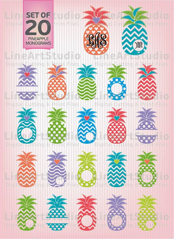 SVG Set 20 Chevron Monogram Pineapple  Svg Files  by LineArtStudio