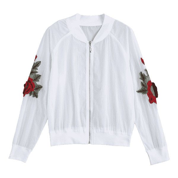 Floral Patched Zip Up Jacket (565 THB) ❤ liked on Polyvore featuring outerwear, jackets, flower print jacket, white floral jacket, floral-print bomber jackets, floral jackets and white zip up jacket