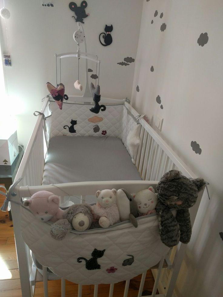 Sac à doudou personnalisable, range doudou, range pyjama, en coton  rose et gris