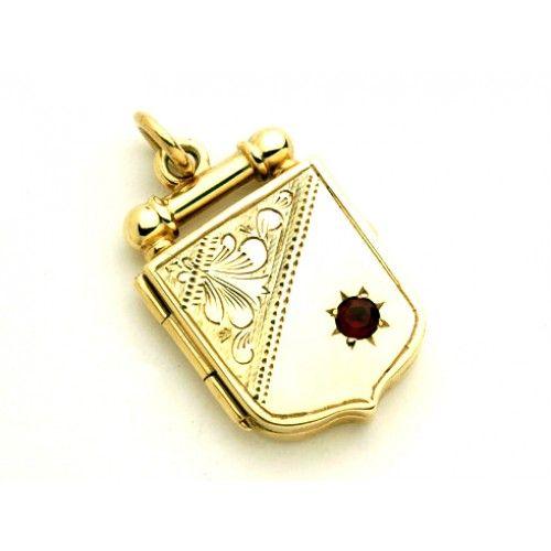 9ct Garnet Shield Pendant. gerrim.com