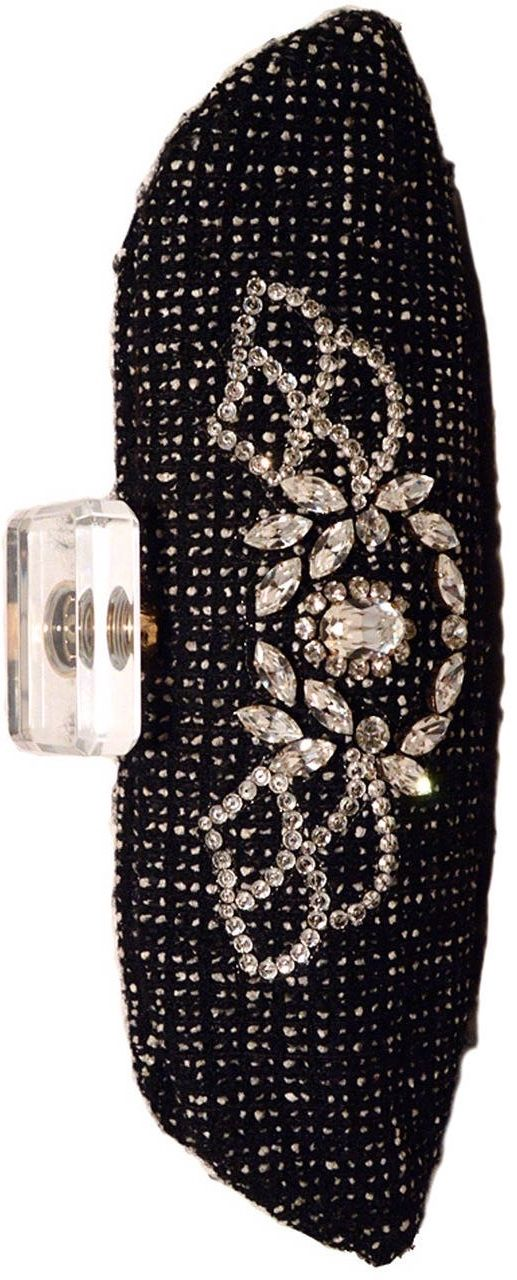 {Chanel Black and White Tweed Rhinestone Perfume Bottle Clutch}