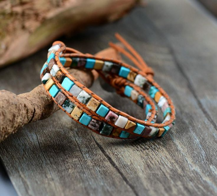 Natural Stone Leather Wrap Bracelet - 6 Styles