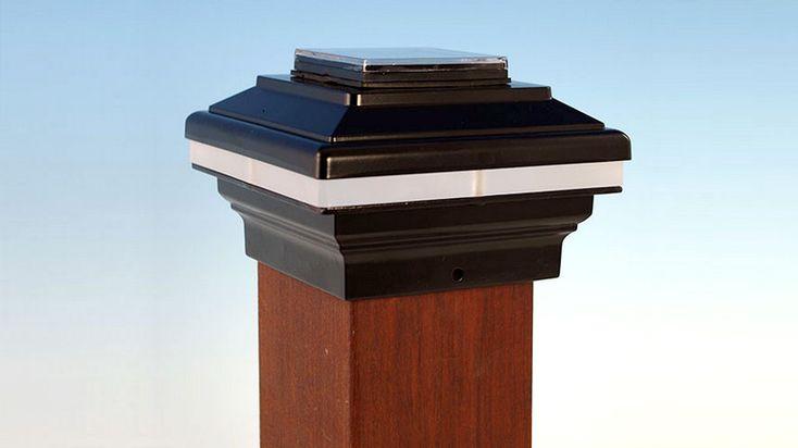A Zena Solar Post Cap Light By Aurora Deck Lighting In Black Post Cap Solar Post Caps Fence Post Caps