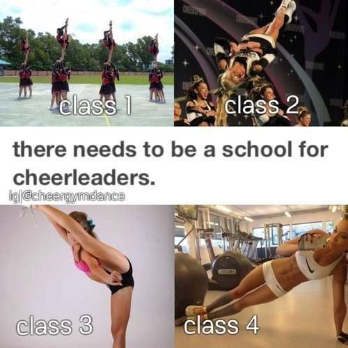 My schedule would be : 1) High-Cap Tumbling  2) AP stunting  3) Honors jumps and agility 4) Advanced strength and conditioning 5) Cheerleading Worlds history and 6) Honors AP Stretching/flexibility. I would seriously be an A+ student....