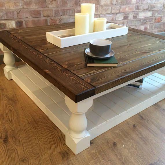Large Square Handmade Solid Pine Farmhouse Coffee Table Coffee