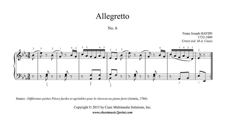 "Franz Joseph HAYDN (1732-1809) : Allegretto in E flat Major, No. 6 From ""Différentes petites Pièces faciles et agréables"" (1786)  www.sheetmusic2print.com/Haydn/Allegretto-6-Differentes-Petites-Pieces.aspx"