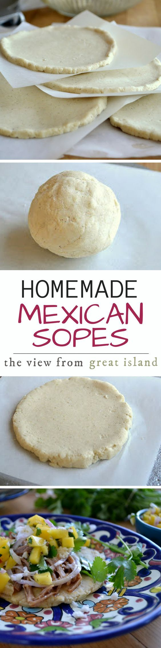 Homemade Mexican Sopes ~ a sope is basically a thicker version of a tortilla, and the pillowy masa is lightly fried on both sides so that it has a thin crust and a moist tamale-like interior.