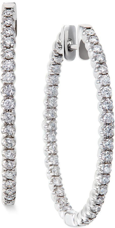 Diamond Hoop Earrings in 14k White Gold (2 ct. t.w.) these are really gorgeous.