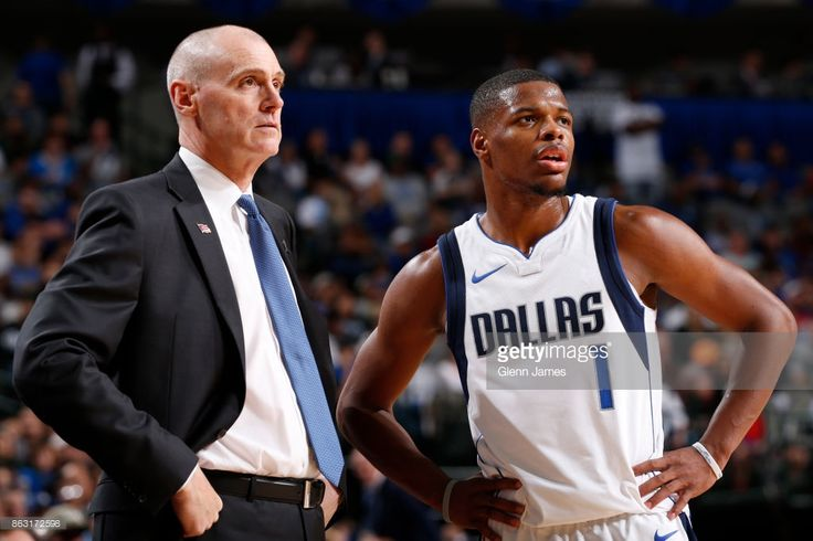 News Photo : Rick Carlisle and Dennis Smith Jr. #1 of the...
