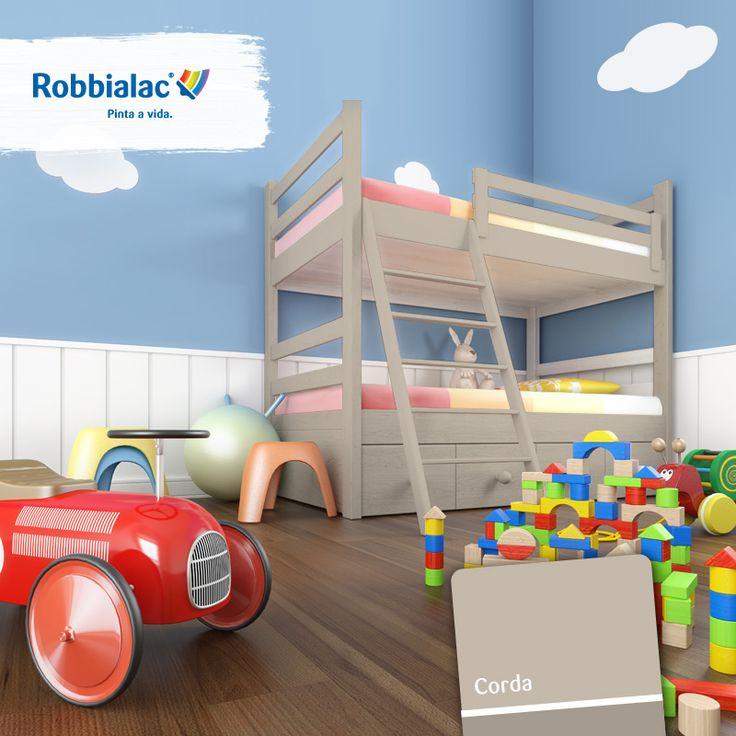 Dê corda à diversão dos seus filhos. ;) Descubra as nossas tintas para madeiras numa loja Robbialac perto de si http://on.fb.me/1tZCcLZ. #Robbialac #Cor #Pintaavida #Quarto #Miudos #Beliche #Crianca #Brincar