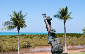 This statue was erected to commemorate the women of Broomes Pearling history. Look a little closer and its a naked aboriginal women chosen due to their excellent free diving skills. She clasps a pearl shell in her hands but she's gasping for air.  Image from:  http://www.broomeandthekimberley.com.au/2011/03/06/broome-history-culture/