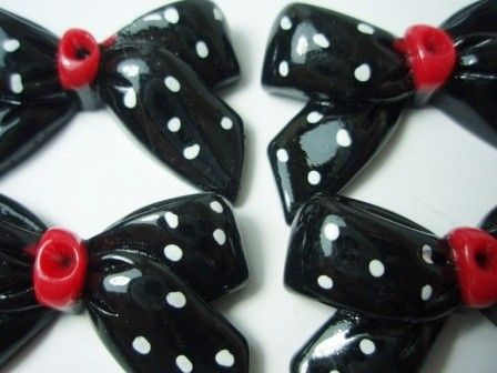 black and white polka dot bowknot ribbon cabochon KAWAII by cooee