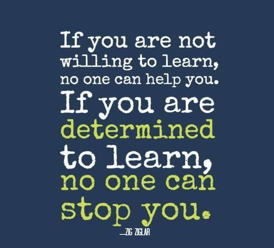 """'If you are not willing to learn, no one can help you. If you are determined to learn, no one can stop you."""" - Zig Ziglar."""
