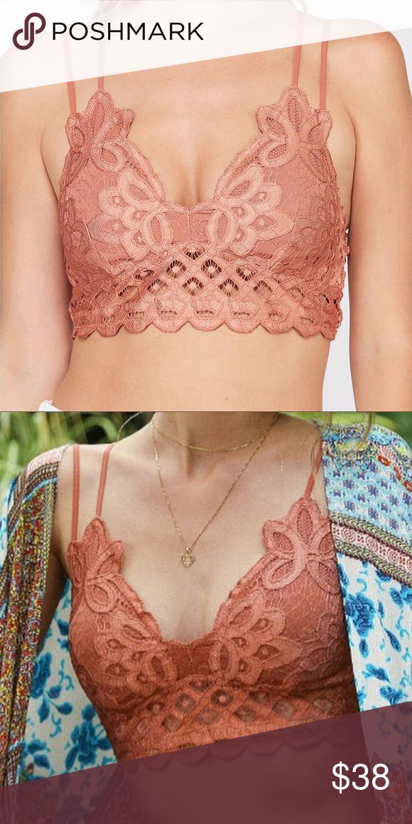 NEW! Double Strap Padded Lace Bralette, Brick Both versatile and feminine, a bra…