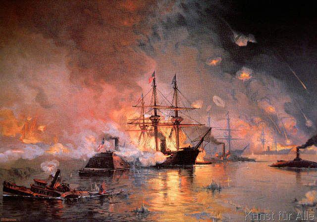 Julian Oliver Davidson - Capture of New Orleans by Union Flag Officer David G. Farragut, 24 April 1862
