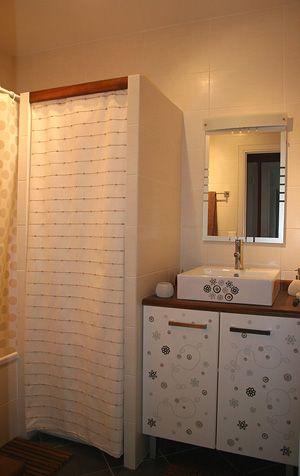 derrière le rideau: machine à laver,sèche linge