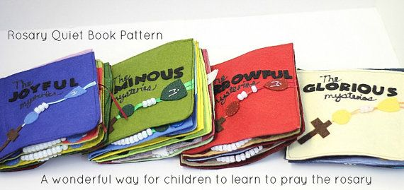 This Rosary Quiet Book Pattern is intended to teach Catholic children the rosary. While the adults pray the rosary, this quiet book will help