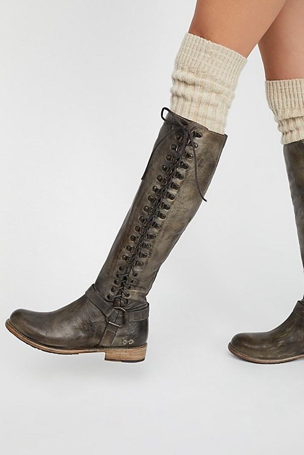 3905572dd25011  385 Free People York Boot Bed Stu Tall Leather Lace Up Boots Taupe Dip Dye  10  BedSt  KneeHighBoots