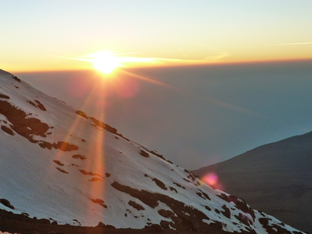 The sunrise and final ascent of Mt Kilimanjaro 2012