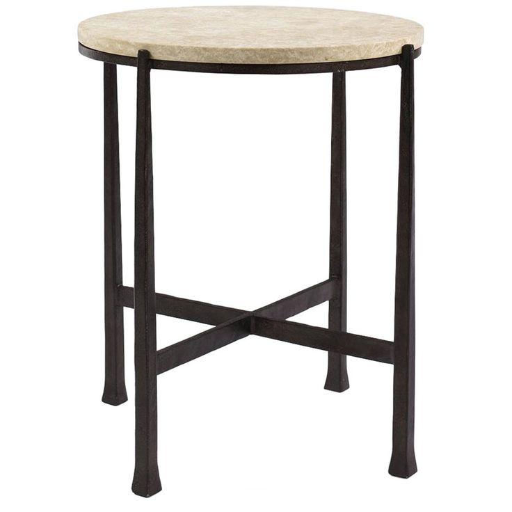 Bernhardt Interiors, Side Tables, Duncan Round Metal Side Table, Aged Iron finish, Stone and Cast Iron Metal, Cast Iron metal base, Stretchers