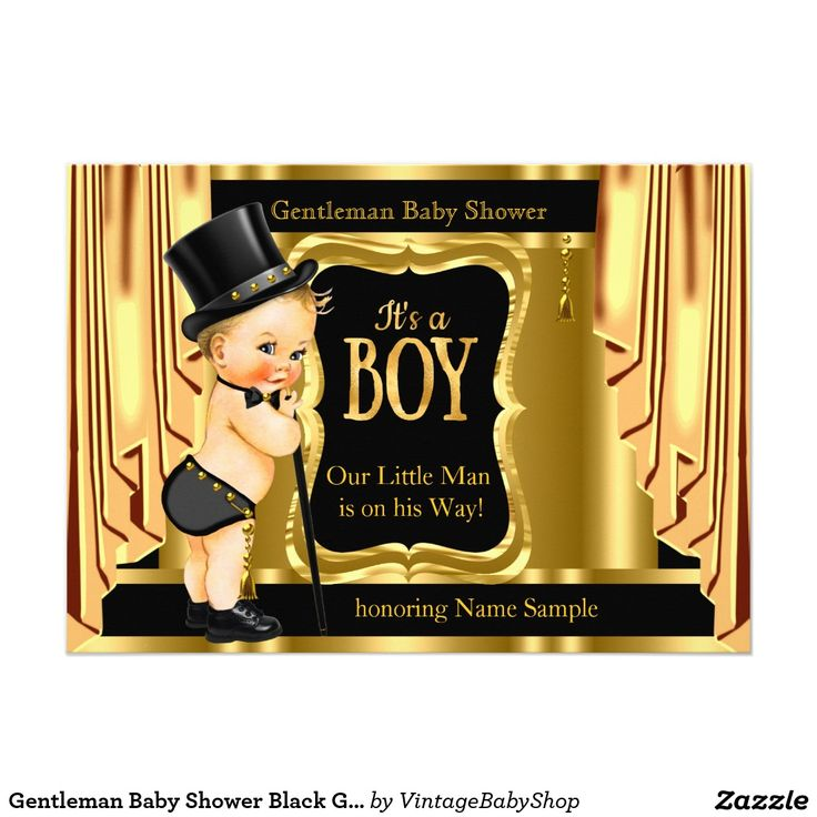 Gentleman Baby Shower Black Gold Drapes Blonde Card