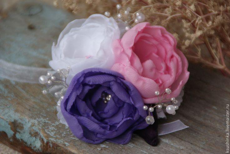 Ободок, повязка, заколка, брошь. Цветы из ткани. Весенний букет 2 - повязка на голову