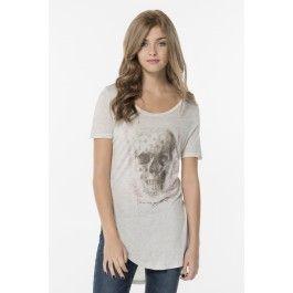 Heather beige grey skull high-low t-shirt