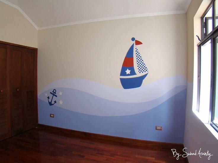 murales en dormitorios cuarto nio barcos